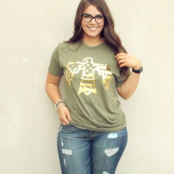Gold Foil Patriotic Thunderbird Crew Neck Tee on Military Green