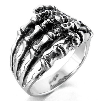 Black Hand Palm Bone Skeleton Ring