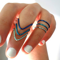 Set of 3 stackable Chevron Knuckle Rings- Blue Ombre Inspired