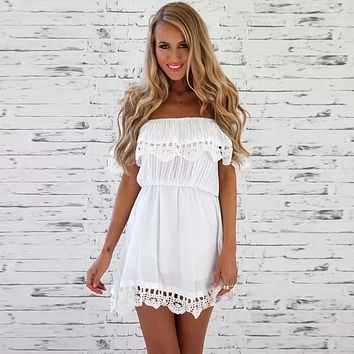 Women's Dress Casual Short-sleeved Waist Elastic Strapless Slash Neck Chiffon Lace Beach Dresses