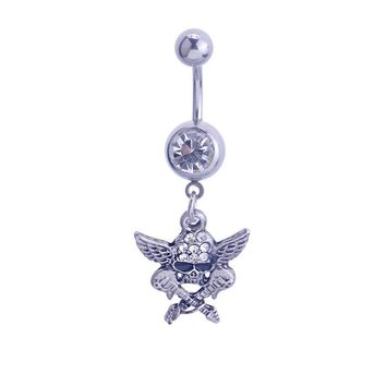 Punk Style Guitar Skull Rhinestone Navel Belly Button Ring Bar Body Piercing Jewelry
