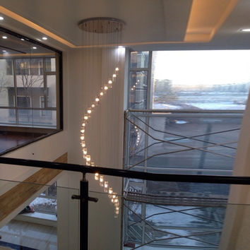 Modern Crystal Chandelier Stair Long Spiral Crystal Chandelier Lighting Fixture For Staircase Rain Drop Chandeliers High Ceiling