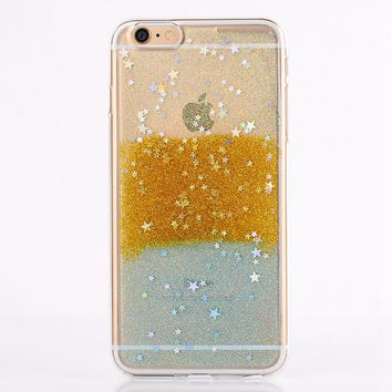 Gold and Silver Glitter Star Case For iPhone