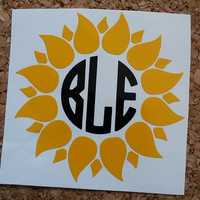 Sunflower Decal | Sunflower Monogram | Flower Decal | Flower Monogram | Yeti Decal | Yeti Cooler Decal |  Vinyl Decal | Laptop Monogram