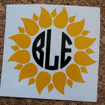 Sunflower Monogram Decal | Sunflower Cup Decal | Preppy Decal | Preppy Monogram | Flower Decal | Yetti Decal | Garden Decal