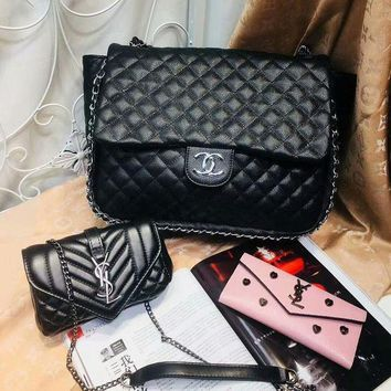 DCC3W Year-End Promotion 3 Pcs Of Bags Combination (Chanel Big Bag ,YSL Little Bag ,YSL Wallet)