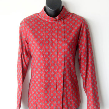 Vintage 70s-80s Brooks Brothers Ladies Women Red Blouse Top Buttons on Back Size 4/small