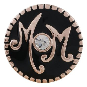 "Snap Charm Rose Gold Border Mom Word Charm on Black 19mm 3/4"" Diameter Fits Ginger Snaps"