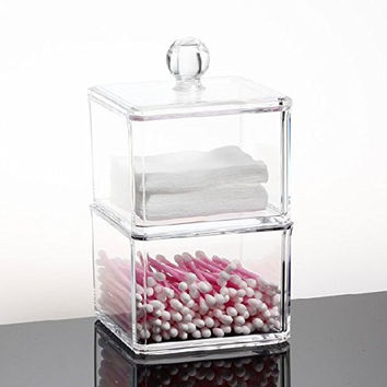 GLODEALS Transparent Square Clear Acrylic Holder Box Cotton Swabs Stick Storage Cosmetic Makeup Case Cotton Ball Holder Organizer