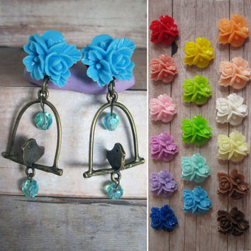 "Pair of Flower Cluster Plugs with Bird on a Perch Charms with Beads - TONS of Colors - Sizes 2g, 0g, 00g, 7/16"", 1/2"", or as post earrings"