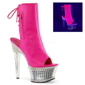 Illusion 1018RS Pink Neon Textured Platform Ankle Boot