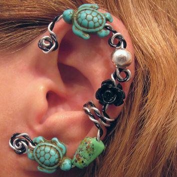 Cartilage Ear Cuff  Prom No Piercing Sea Turtle Helix Conch Mermaid Beach Wedding Limited Edition