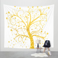Gold Tree Wall Tapestry by Haroulita