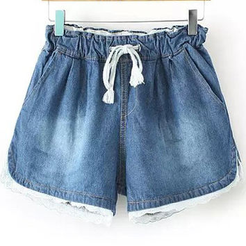 Faded Blue Drawstring White Lace Trim Denim Shorts