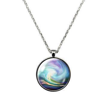 Colorful Storm Swirl- Necklace Jewelry stainless steel casing crystal glass pendant with wavy colorful storm swirl print.