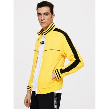 Men Striped Trim Two Tone Jacket