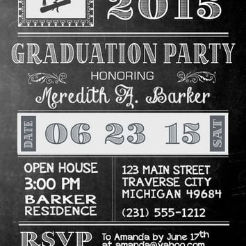 Vintage Chalkboard Graduation Invitation - Graduation Announcement - College or High School