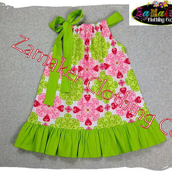 Girls Pillowcase Dress  Pink n' Lime  Girls by ZamakerrClothingCo