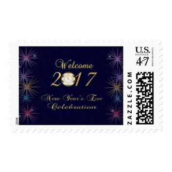 Festive Gold Foil New Year's Eve Celebration Postage