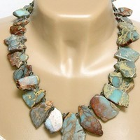 African Opal Gemstone Necklace Silver Crystal Short Statement Handmade