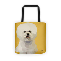Bichon Frise Puppy Tote Bag, Custom Color Vector Art, Dog Lover, Shopping Bag