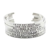 2017 Hot 316L Stainless Steel Bangle Positive Inspirational Quote Cuff bracelets Mantra Bracelets Bangles for women