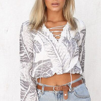 Long Sleeves Lace-Up Crop Top