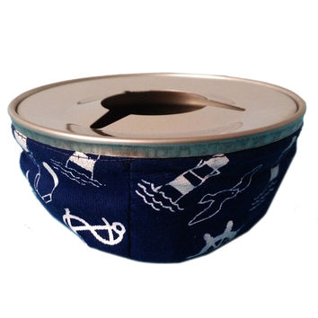 Marine Bean Bag Style Ashtray Canvas and Stainless Steel   blue