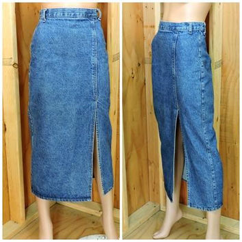80s denim maxi skirt / size S 5 / 6 / long jean skirt / 80s retro high waisted blue jean skirt