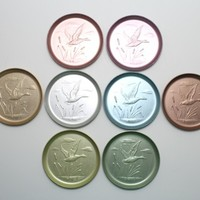 Aluminum Duck Coasters Pressed Stackable Set of 8 Pastel Colors