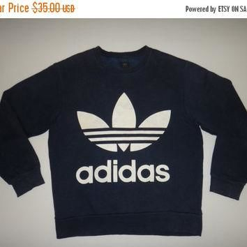 New Year Sale ADIDAS Double Side Big Logo Sweater Vintage Pullover Jumper Adidas Tenni