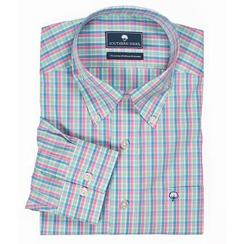 Sandpiper Plaid Button Down in Oasis by The Southern Shirt Co..