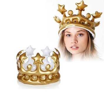 Cool FLYDREAM Inflatable Crown Hats Creative Kids Birthday Party Hat Festival Birthdays Party Supplies King Queen Day Halloween DecorAT_93_12