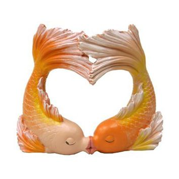 Exotic Environments Kissing Goldfish Heart Aquarium Ornament
