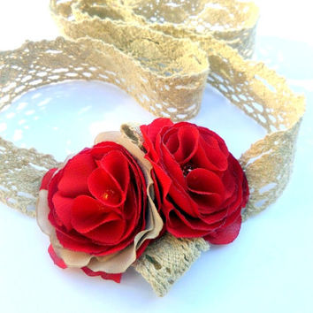 Bracelet, necklace and accessories for hair, Red flowers, Accessories, Red  Wedding , Accessories women ,  Silk flowers