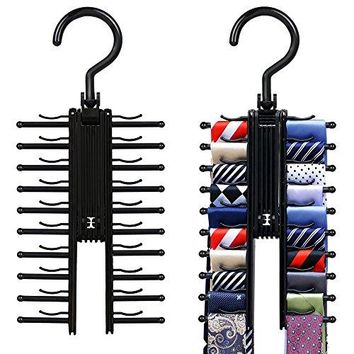 2 PCS Cross X Hangers,Black Tie Belt Rack Organizer Hanger Non-Slip Clips Holder With 360 Degree Rotation,Securely up to 20 Ties