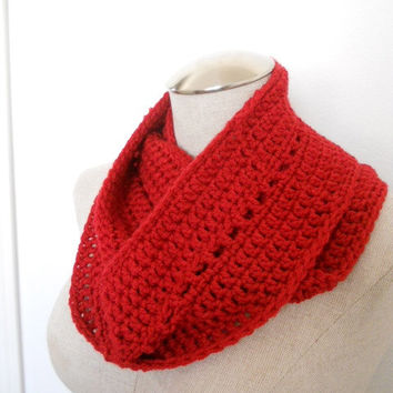 Crochet Cowl in Porcelain Red, infinity scarf, circle scarf Womens Accessory Winter Fashion
