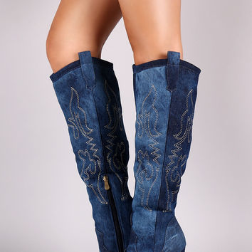 Liliana Washed Denim Embroidered Western Stiletto Boots