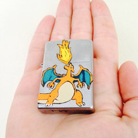 Hand painted Charizard Zippo lighter. Pokemon lighter.