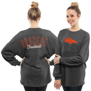 Women's Denver Broncos Pro Line Charcoal Powder Puff Long Sleeve T-Shirt