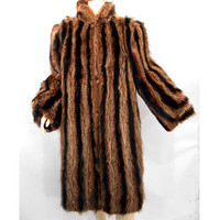 Vintage 40s Genuine Raccoon Fur Coat Full Length