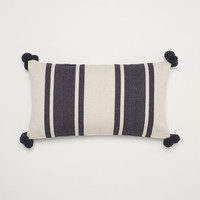 Textured-weave cushion cover - Dark grey/Striped - Home All | H&M GB