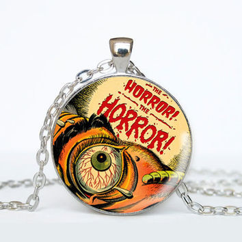 Horror Comic Book Necklace - Eye Widening Horror - Geeky Jewelry
