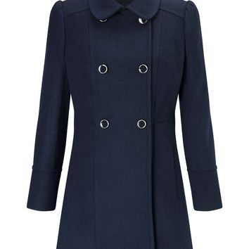 PETITE Navy Pea Coat | Missselfridge