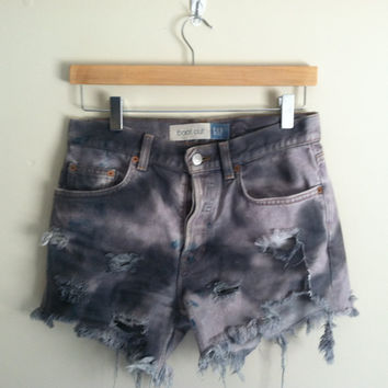 tie dye distressed cutoff shorts