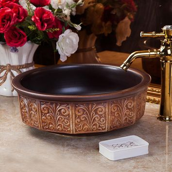 KBS Handmade Porcelain Sink Countertop Ceramic Bathroom Sink vessel sink bowl carving