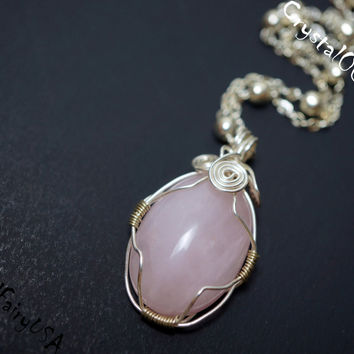 Wire Wrapped Rose Quartz Necklace, Rose Quartz Cabochon Necklace,  Rose Quartz Healing Necklace, Bridesmaid Necklace, Yoga Necklace