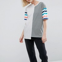 ASOS T-Shirt in Oversized Fit and Mix and Match Stripes at asos.com