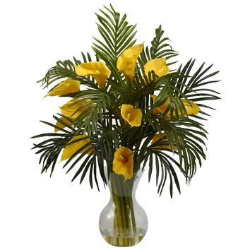 Artificial Flowers -Calla Lily And Palm Combo Arrangement Silk Flowers