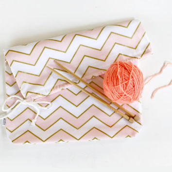 Project Bag, Gold and Pink Chevron Metallic, Cotton Pouch, Travel Bag, Organizer, All Purpose Bag